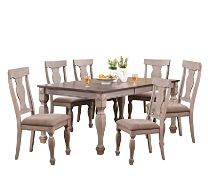 Kings Brand Almon 2 Tone Brown Wood 7 Piece Rectangle Dining Room Set,
