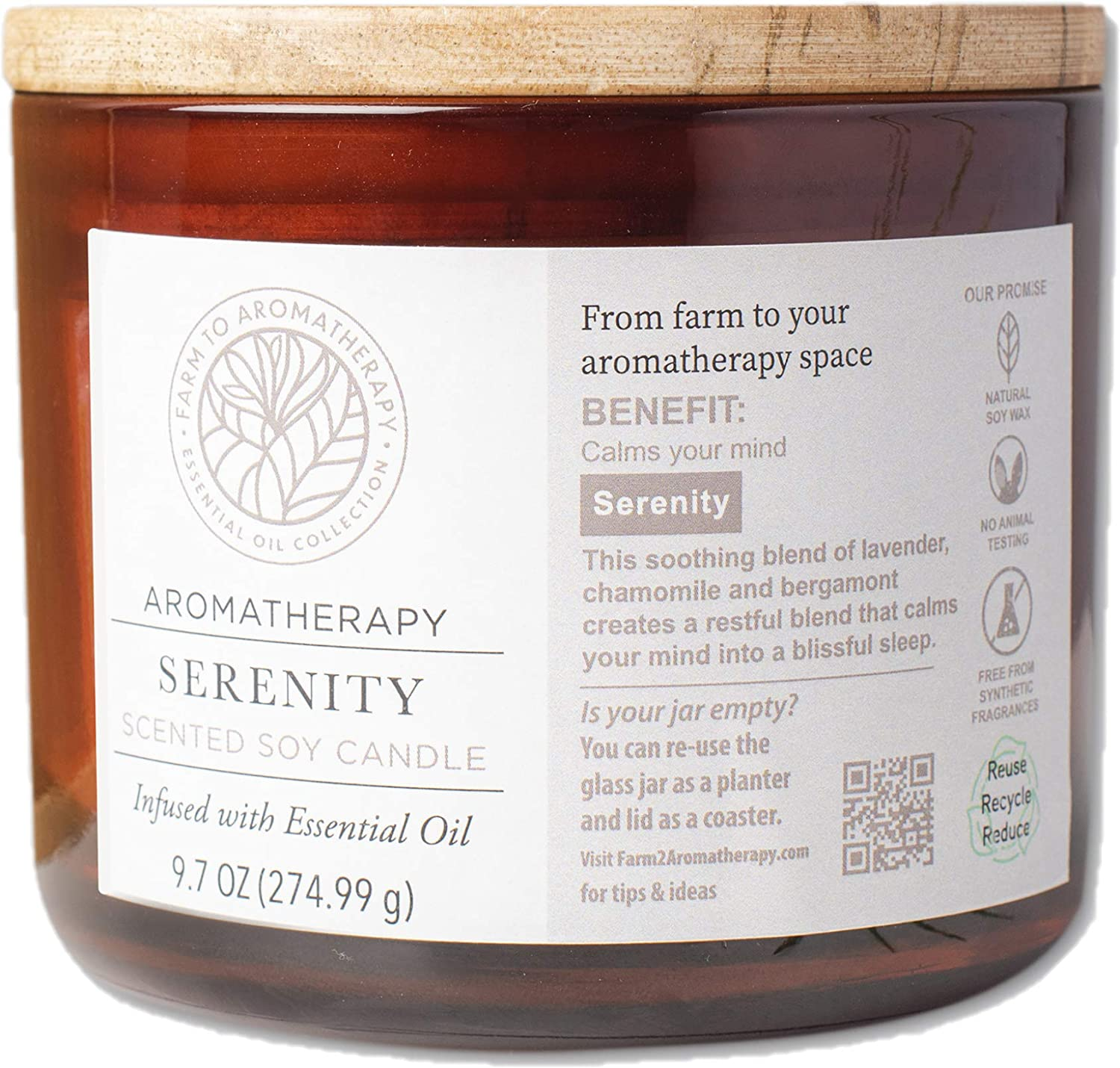 Farm to Aromatherapy 2-Wick Candle with Wooden Lid, Serenity: Clean & Pure, Long Burning, Stress Relief, Promotes Wellness, Calming & Peace with Therapuetic Qualities, 9.7 Oz.