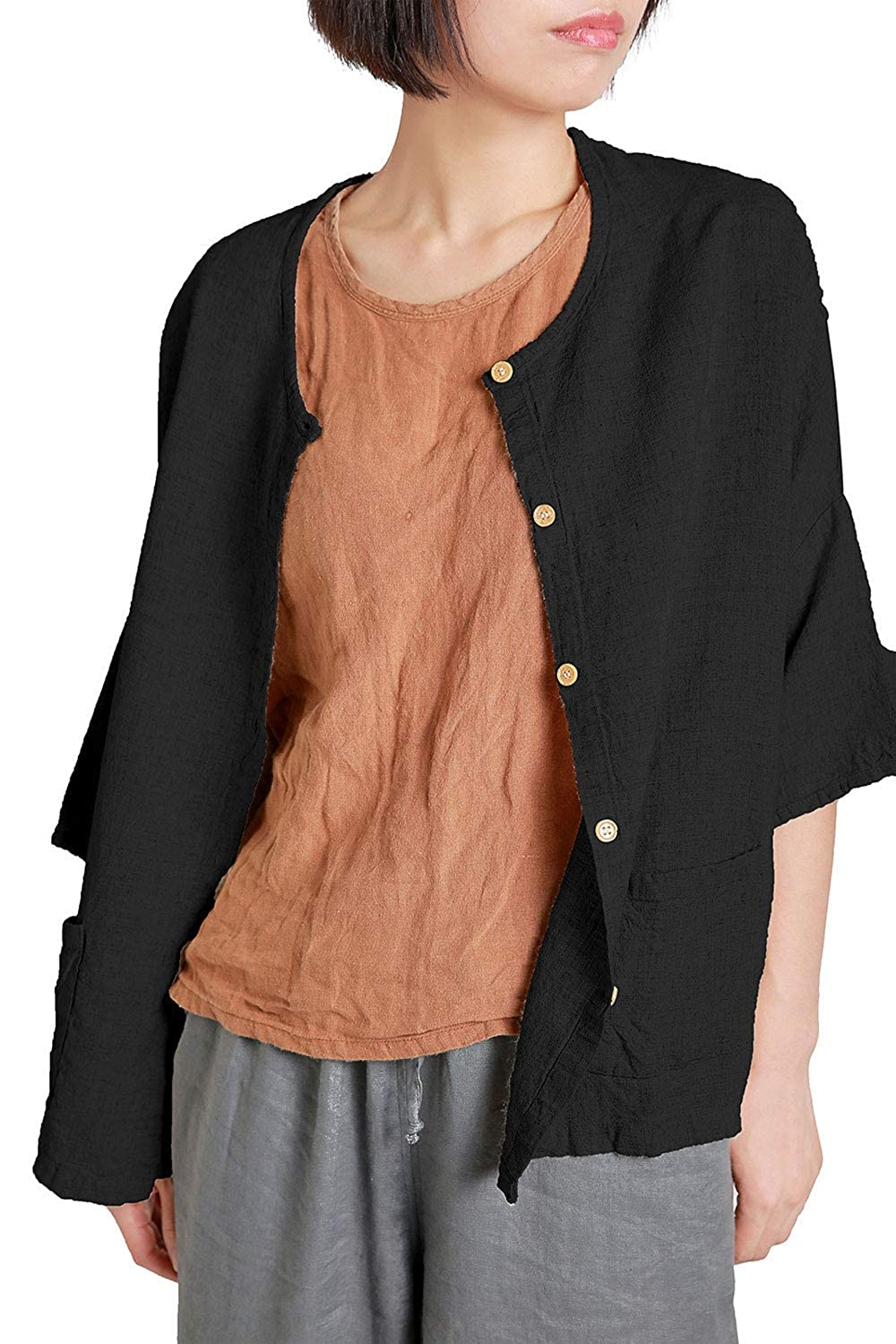 Ecupper Women Casual Linen Tops Loose Fit Blouse 3//4 Sleeves Shirt with Pocket