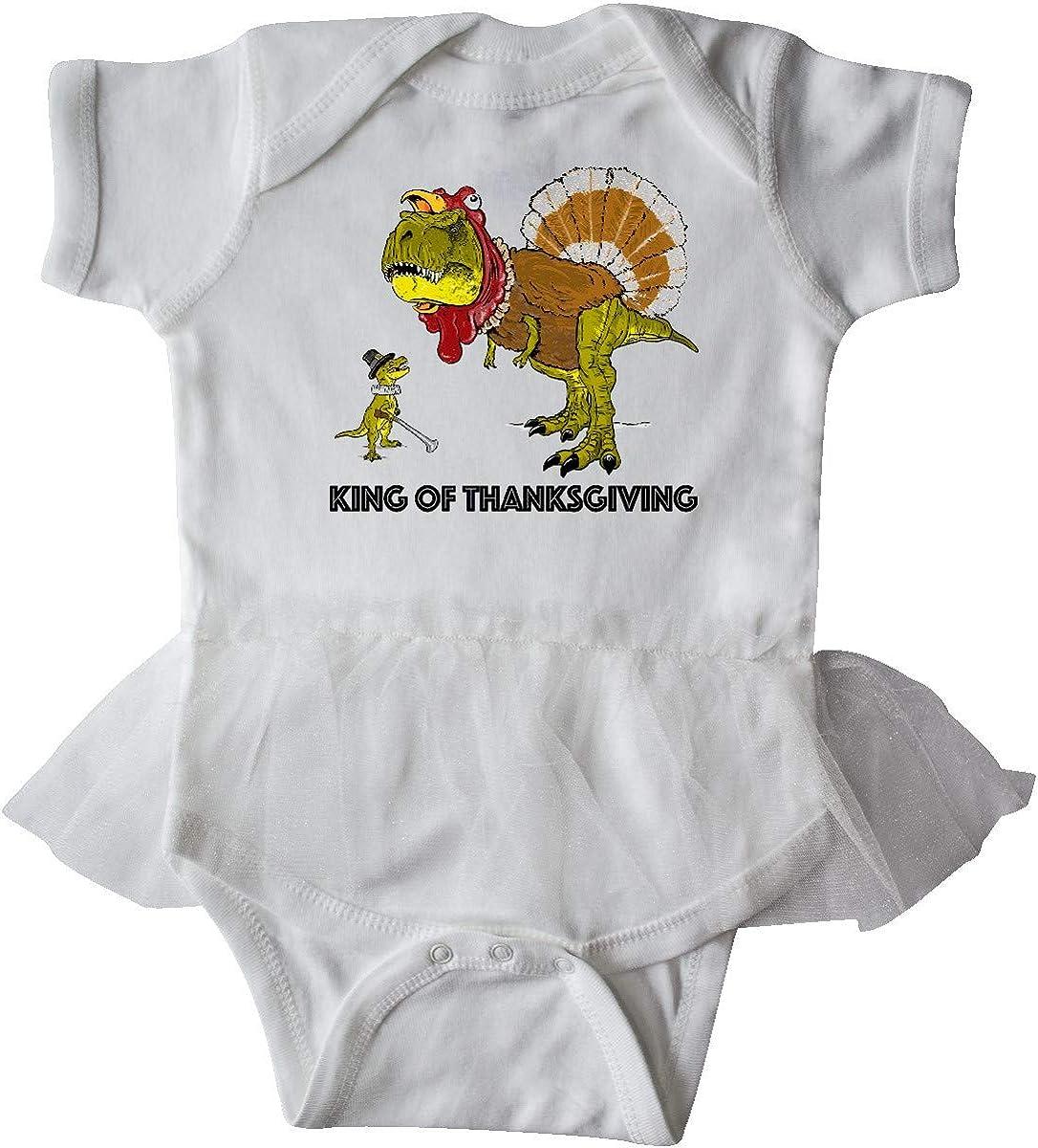 inktastic King of Thanksgiving T-Rex Turkey and Pilgrim in Infant Tutu Bodysuit