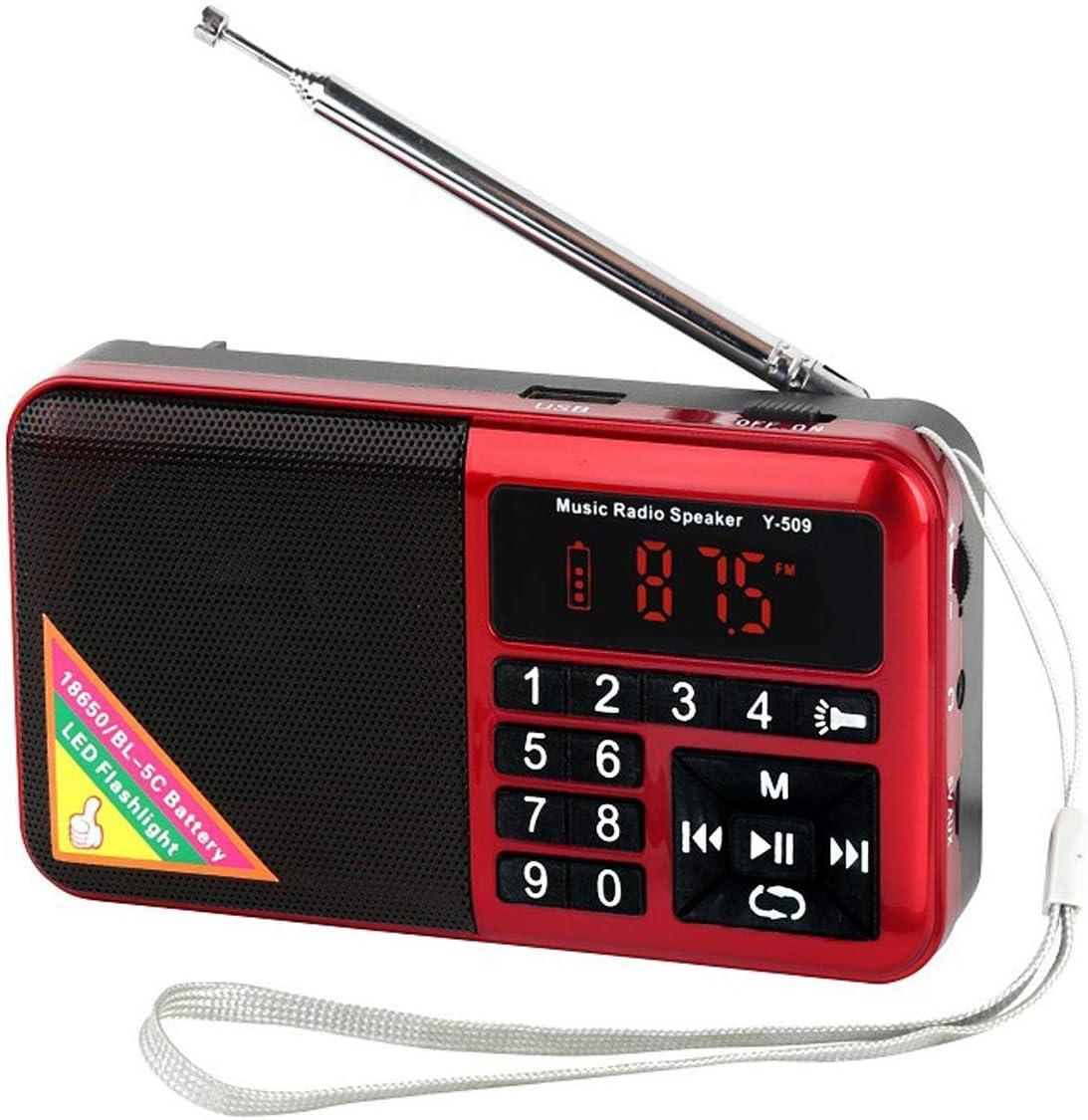 Totento Mini Radio Portátil FM Digital Recargable 1500mAh con Linterna LED y Reproductor MP3 en Disco USB Micro SD AUX, Auricular Jack (Rojo): Amazon.es: Electrónica
