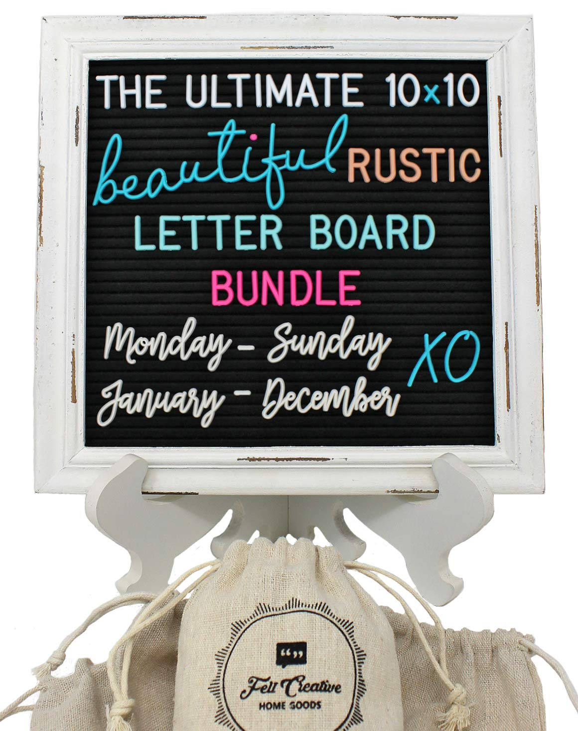 Rustic Felt Letter Board Ultimate Bundle Farmhouse Vintage White Wood Frame and Stand by Felt Creative Home Goods (Black, 10x10 Inches)