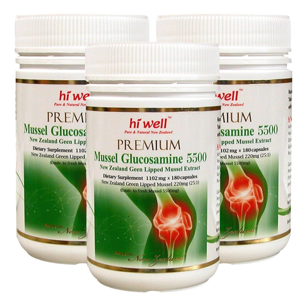 Hi Well Premium Mussel & Glucosamine 5500mg 180 Capsules New Zealand Green Lipped Mussel Extract Joint Health Supplements (Pack of 3)