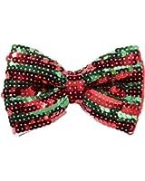 Forum Novelties Men's Sequin Bow Tie with Elastic Strap (Red/Green)