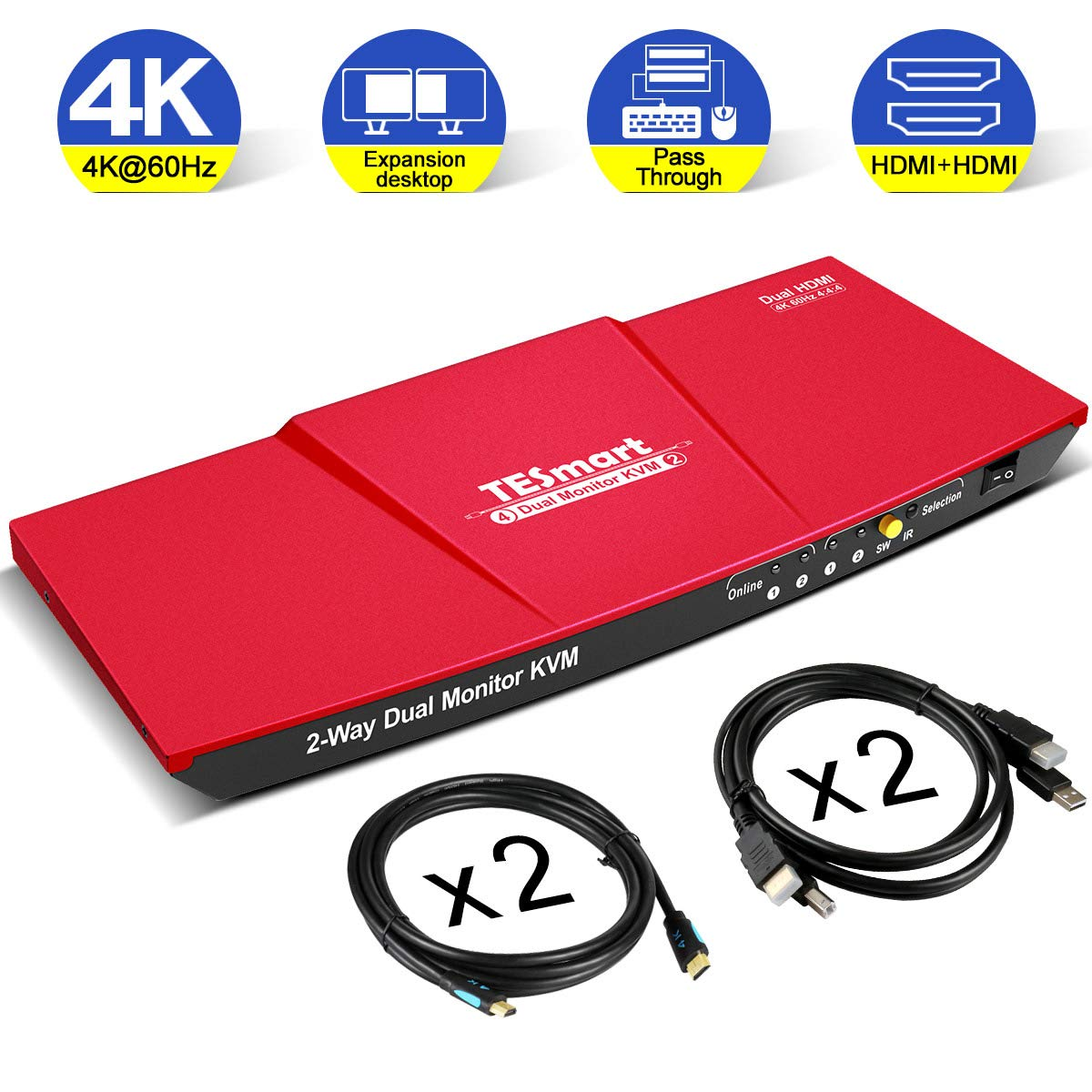 TESmart Dual HDMI 4x2 Dual Monitor KVM Switch 2 Port Updated 4K@60Hz, Support HDCP 2.2(Red)