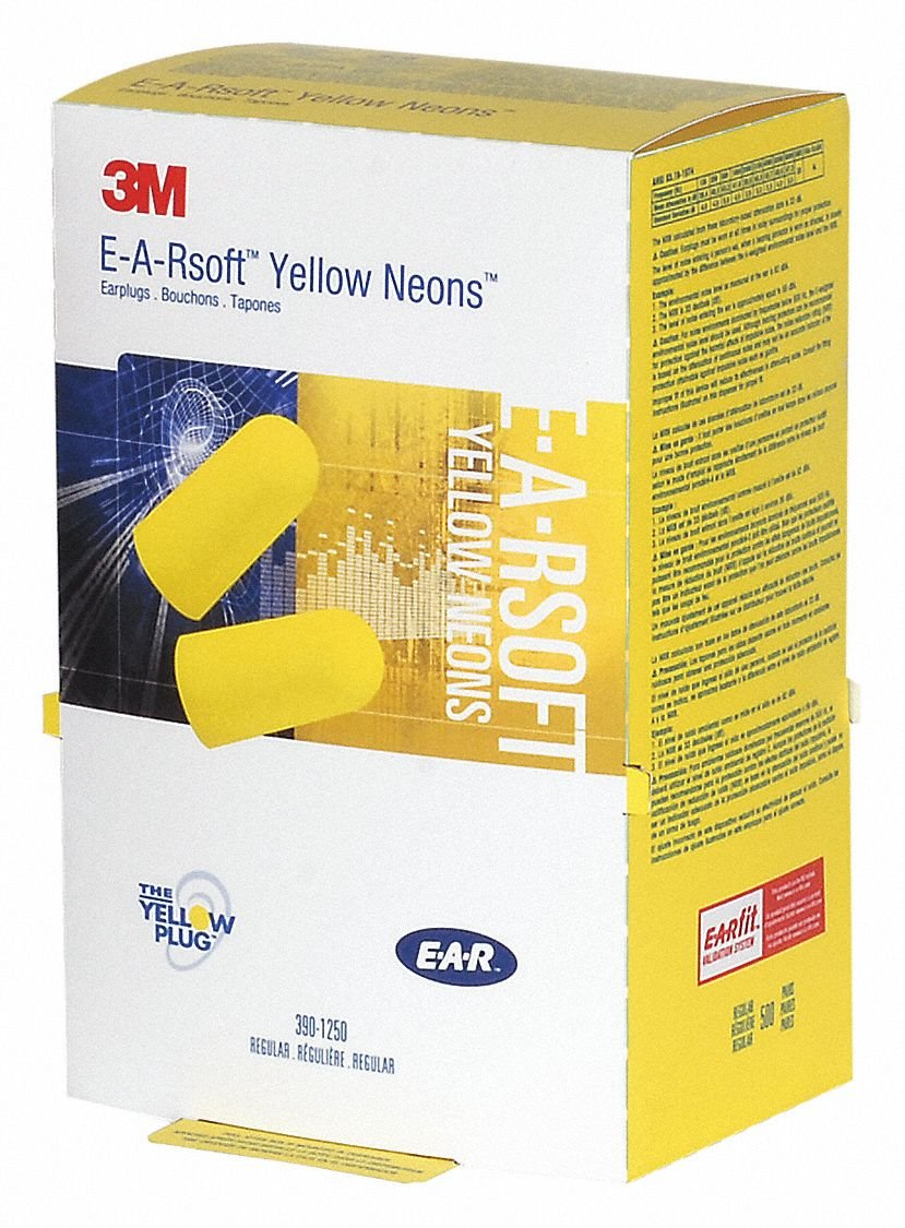Ear Plugs, 33dB, Yellow, Tapered, Box, PK500 by 3M