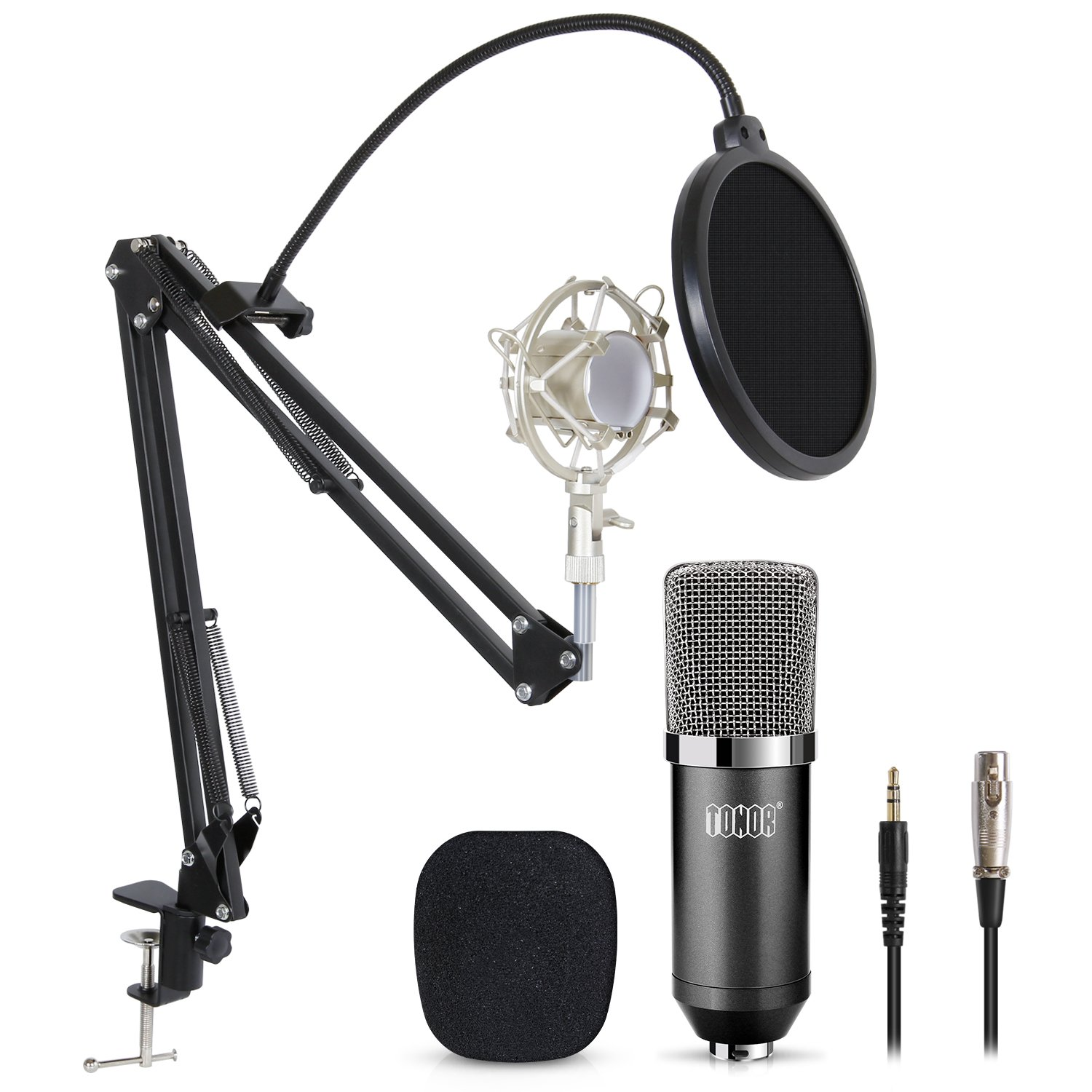 TONOR Professional Studio Condenser Microphone Computer PC Microphone Kit with 3.5mm XLR/Pop Filter/Scissor Arm Stand/Shock Mount for Professional Studio Recording Podcasting Broadcasting, Black by TONOR