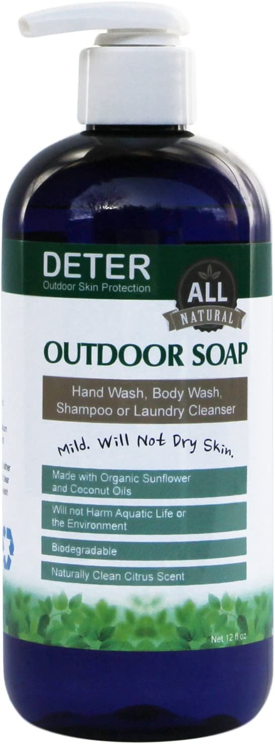 Deter Natural Outdoor Soap 12OZ Family Size Pump Bottle : Sports & Outdoors