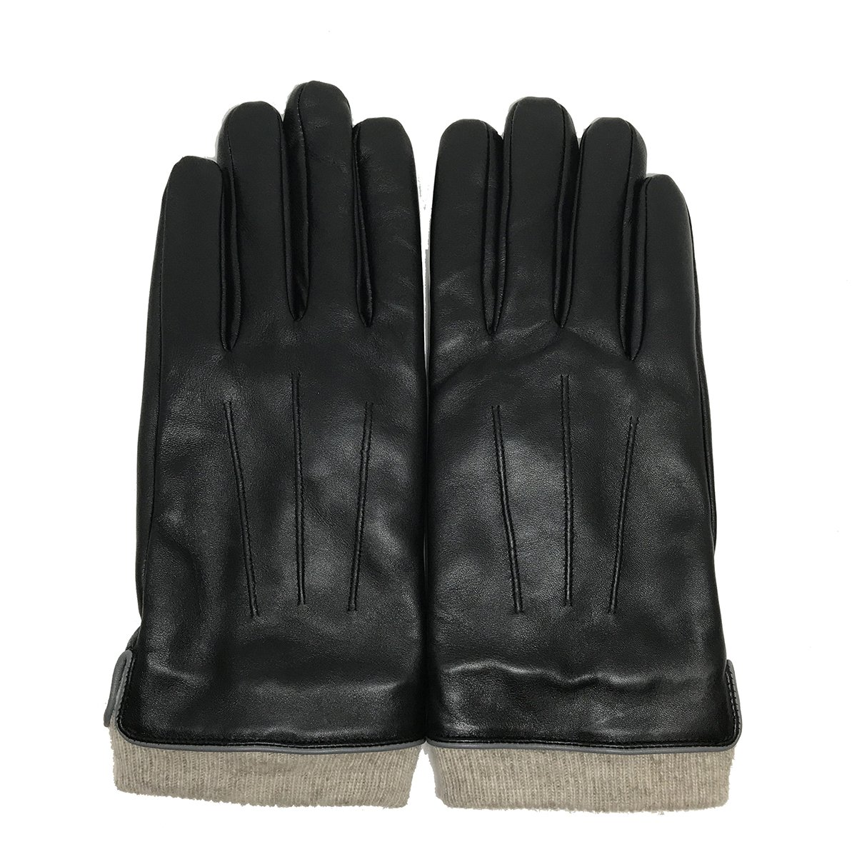 MATSU Men Winter Warm 3M Thinsulate Touchscreen Texting Lambskin Driving Motorcycle Leather Gloves M1006(3m lined) (M, Black)
