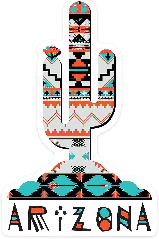 Arizona - Saguaro Cactus - Tribal Pattern - Contour 94014 (Vinyl Die-Cut Sticker, Indoor/Outdoor, Small)