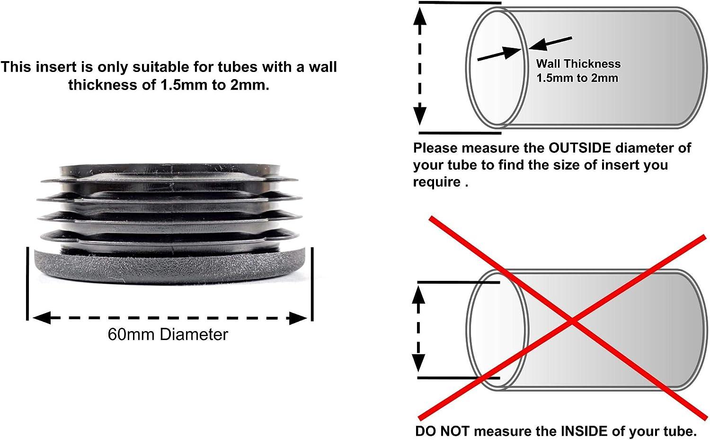 36/mm de diam/ètre rond c/ôtel/é Plastique Noir Insert Bouchons caches dextr/émit/é fabriqu/é en Allemagne.