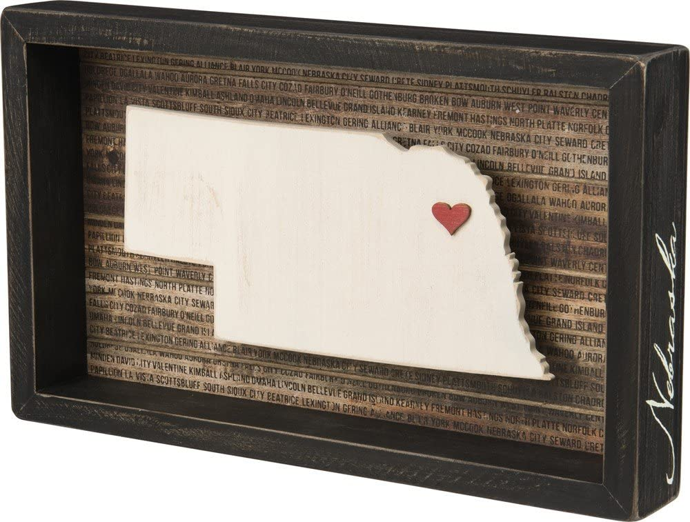 "Primitives by Kathy Wanderlust Box Sign, 12.5"" x 7.5"", Nebraska"