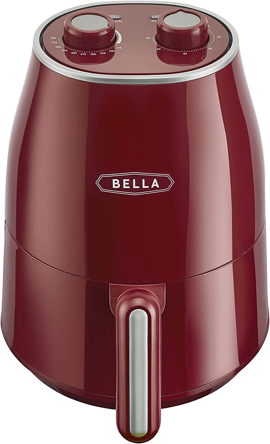 BELLA Air Convection Fryer, Healthy No-Oil Frying & Cooking, Removeable Dishwasher Safe Pan and Crisping Tray, Temperature and Timer Control, 1.6 QT, Red