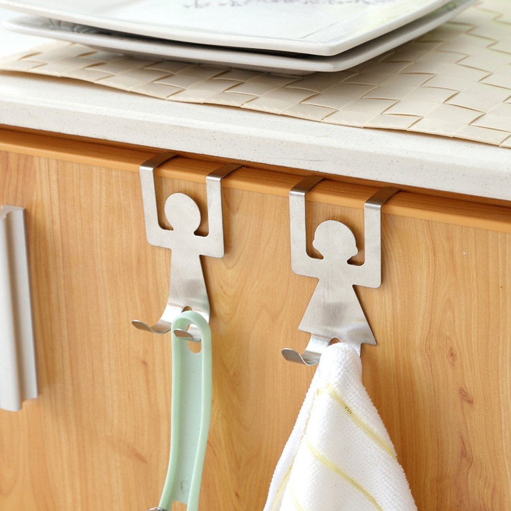 2Pcs Stainless Steel Kitchen Hanger Lovers Shaped Hook Clothes Storage Rack Tool (Silver)