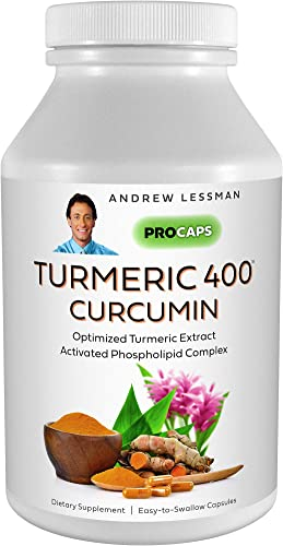 Andrew Lessman Turmeric 400-60 Capsules 95 Curcuminoids as Phospholipid Complex for Optimum Benefits and Greater Absorption, High Potency Standardized Extract, Small Easy to Swallow Capsules
