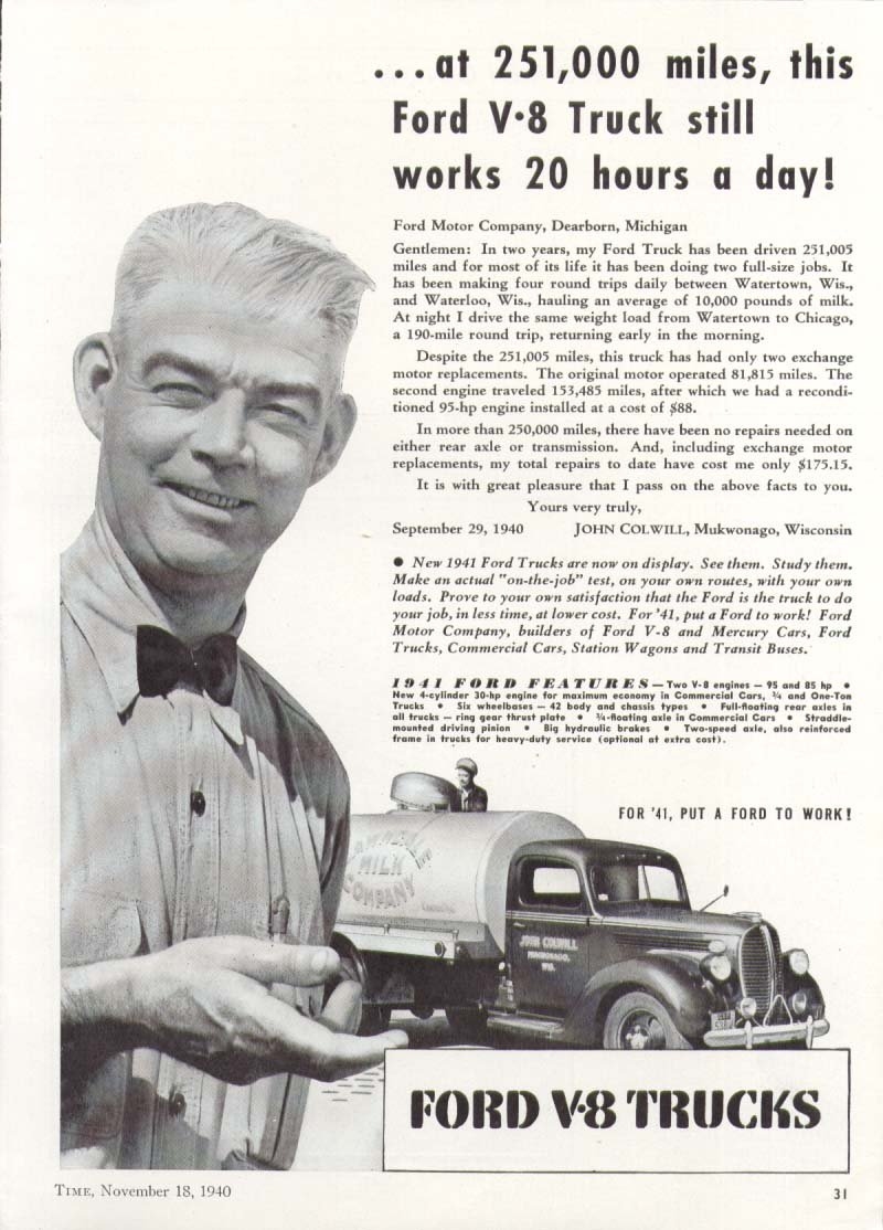 Ford V8 Truck 251000 Miles 20 Hours A Day Ad 1941 Station Wagon Entertainment Collectibles