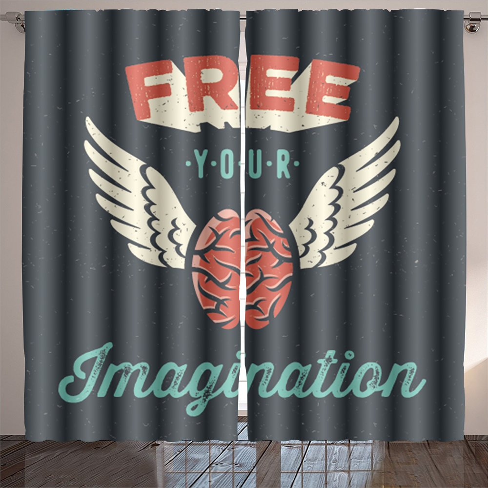 aolankaili free your imagination creative tee shirt apparel print poster design flying brain icon dark Room Bedroom Curtains 2 Panels for Kids Room Window Treatments 84x108 INCH
