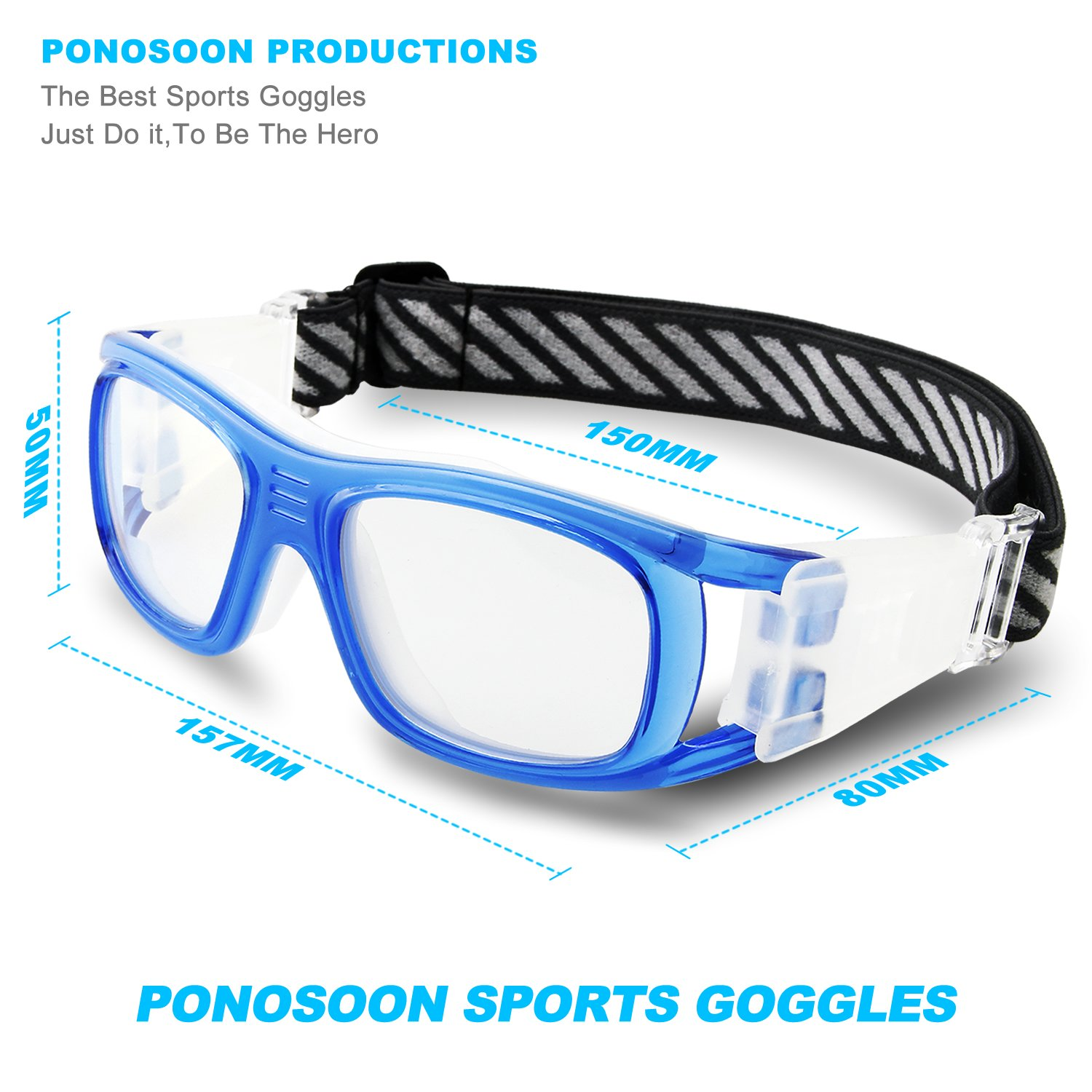 0fcc93d9def PONOSOON Sports Goggles Glasses for Basketball Football Volleyball Hockey  1809(Transparent Blue)  Amazon.ca  Sports   Outdoors