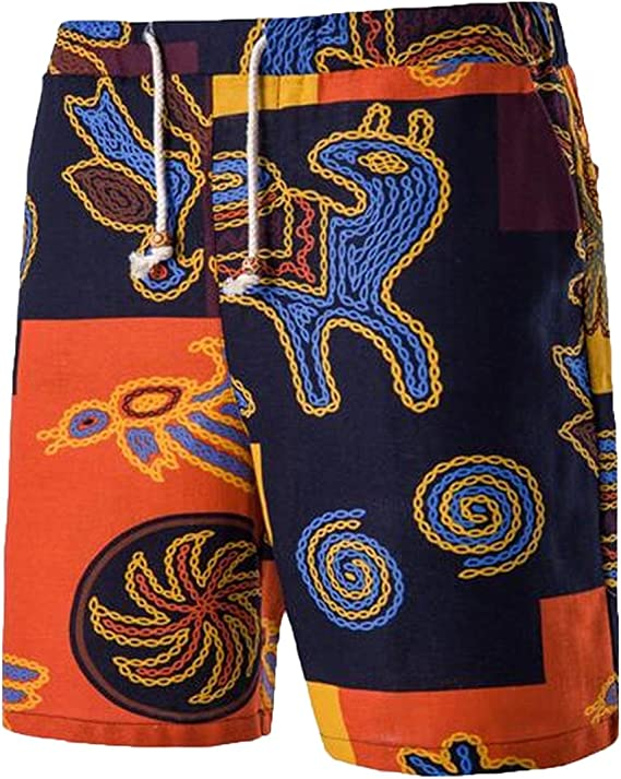 HZamora/_H Mens African Tribal Art Summer Breathable Quick-Drying Swim Trunks Beach Shorts Cargo Shorts