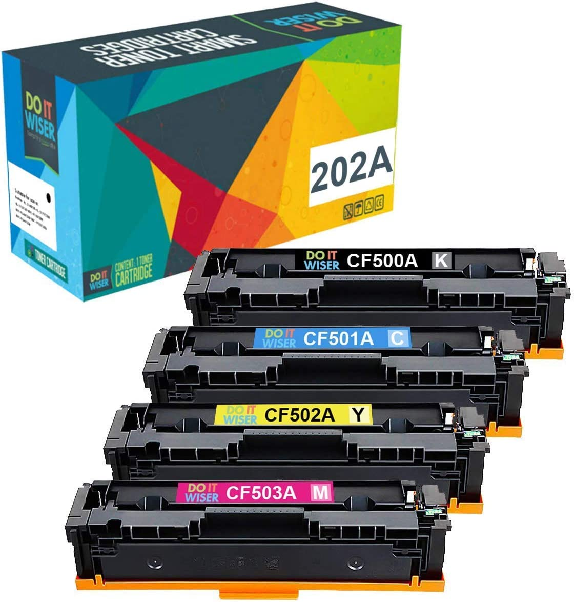 Do it Wiser Compatible Toner Cartridge Replacement for HP 202A CF500A M281 Color Laserjet Pro MFP M281fdw M281cdw M254nw M281fdn M280nw M254dw CF501A CF502A CF503A (Black Cyan Yellow Magenta, 4-Pack)