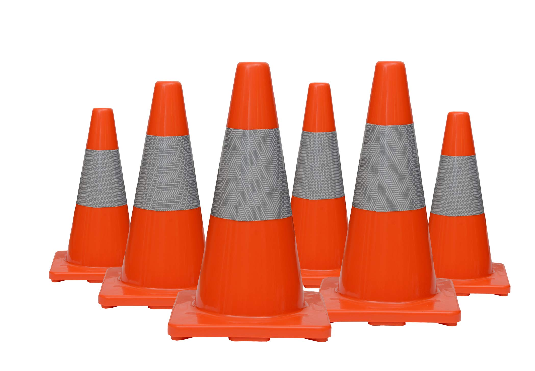 (Set of 6) CJ Safety 18'' PVC Traffic Safety Cones With Reflective Collar (6 Cones) by CJ Safety (Image #1)