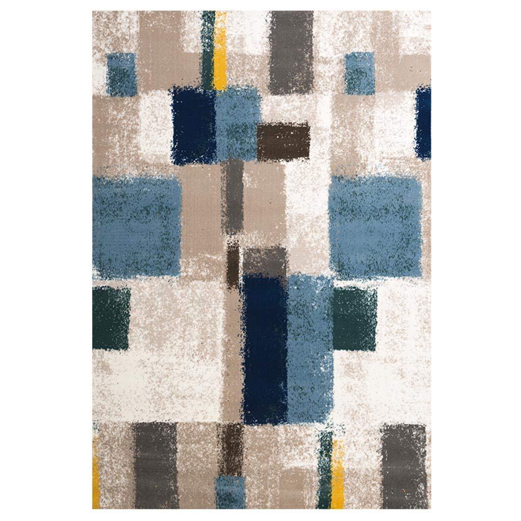ラグカーペット 子供部屋の厚手のベッドサイドカーペット ベッドルーム高性能幾何学的なカーペット ファッションアートカーペット リビングルームシンプルなライト高級カーペット ヨーロッパの調査カーペット (Color : Blue, Size : 160*230*1.5cm(63*90*0.6in)) 160*230*1.5cm(63*90*0.6in) Blue B07KTYYJWC