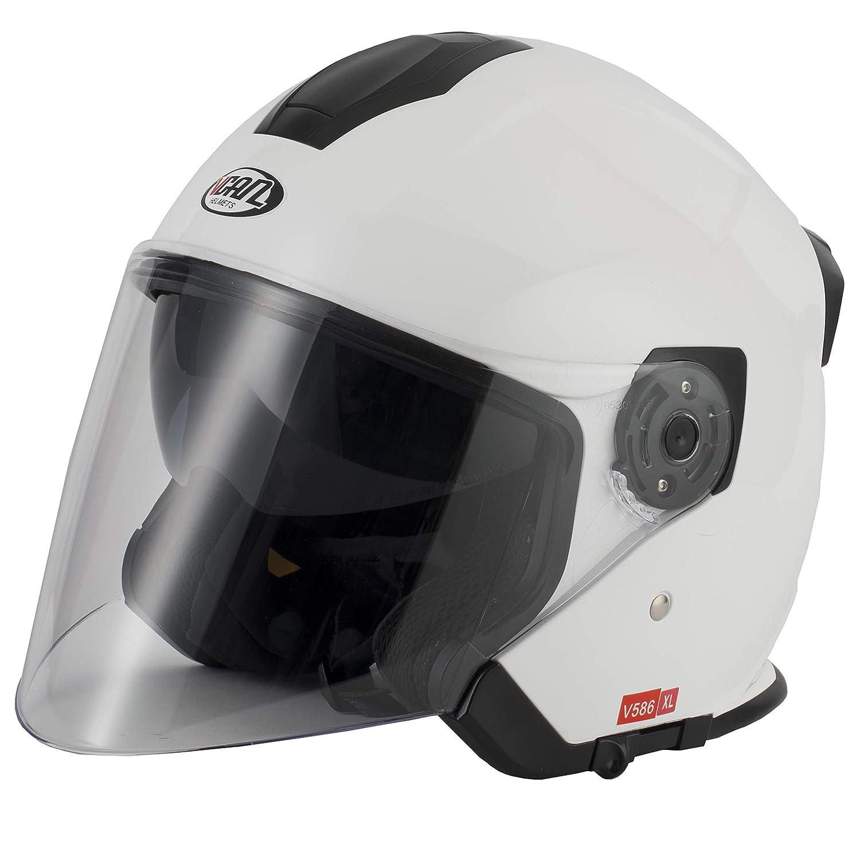 Vcan V586 Open Face DVS Motorcycle Helmet With Long Visor Matt Titanium S 55-56cm