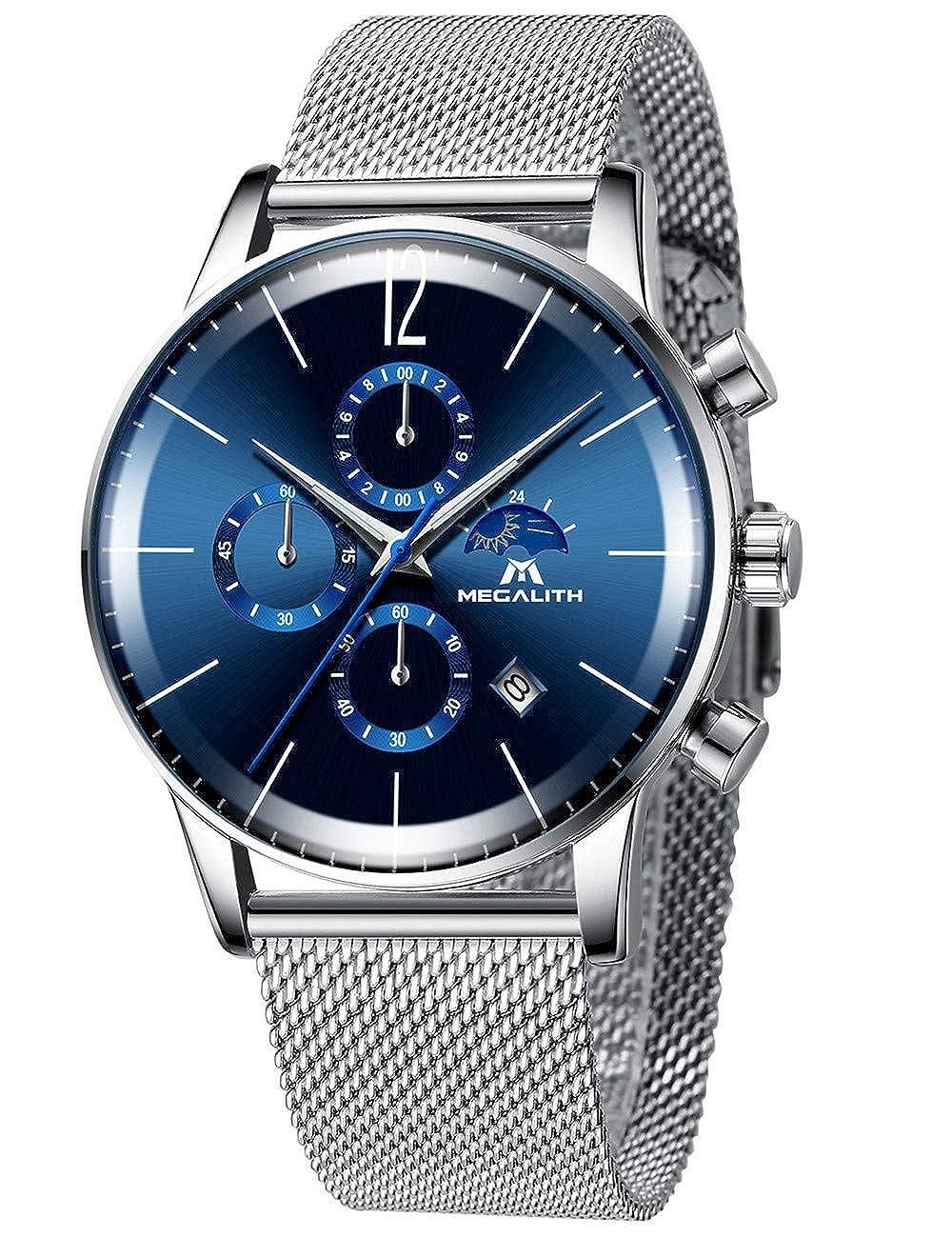 Relojes Hombre Reloj Militar Malla de Acero Inoxidable Analógico Negro Moda Relojes de Pulsera para Hombres de Impermeable Cronógrafo Lujo Diseño ...