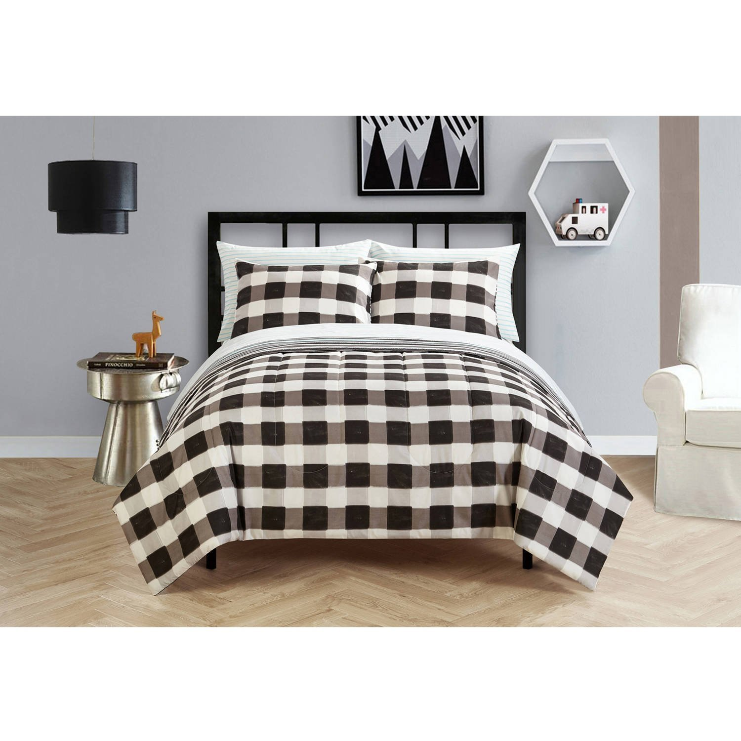 Your Zone Teen Plaid Classic Black and White Stripes Checkered Reversible Bedding Full Comforter for Boys (7 Piece in a Bag)
