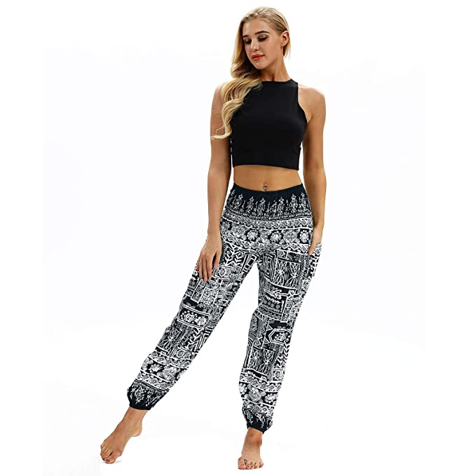 Mens Womens Work Out Pants Yoga Casual Jeans Loose Hippy Yoga Trousers Baggy Boho Sports Aladdin Harem
