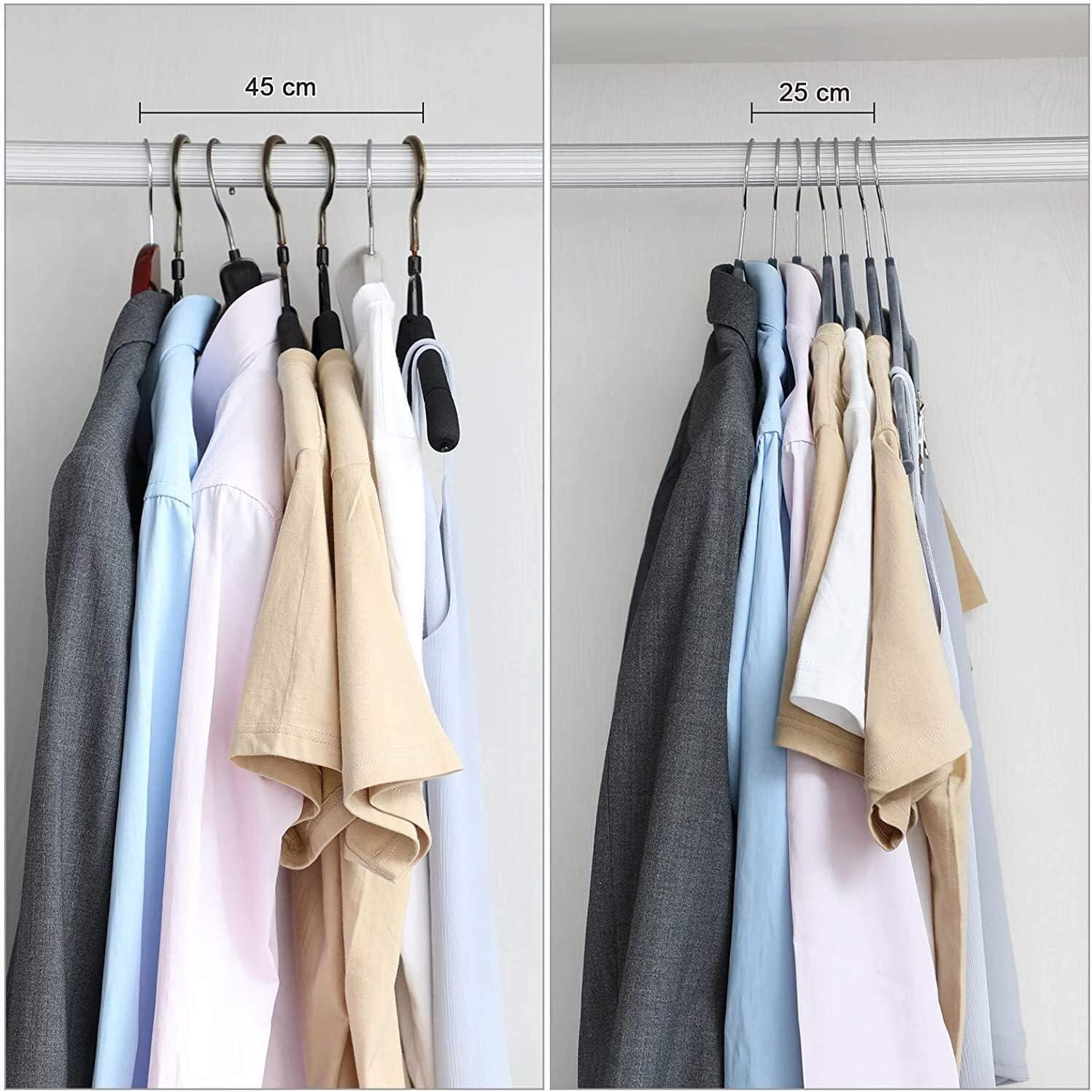 Noir CRF12B-30 cintr lourds SCD 30-Pack Pantalon CROCHETS 42,5 cm Pantalon velours Cintres avec clips r/églables antid/érapants et peu encombrant for les pantalons manteaux jupes robes d/ébardeurs