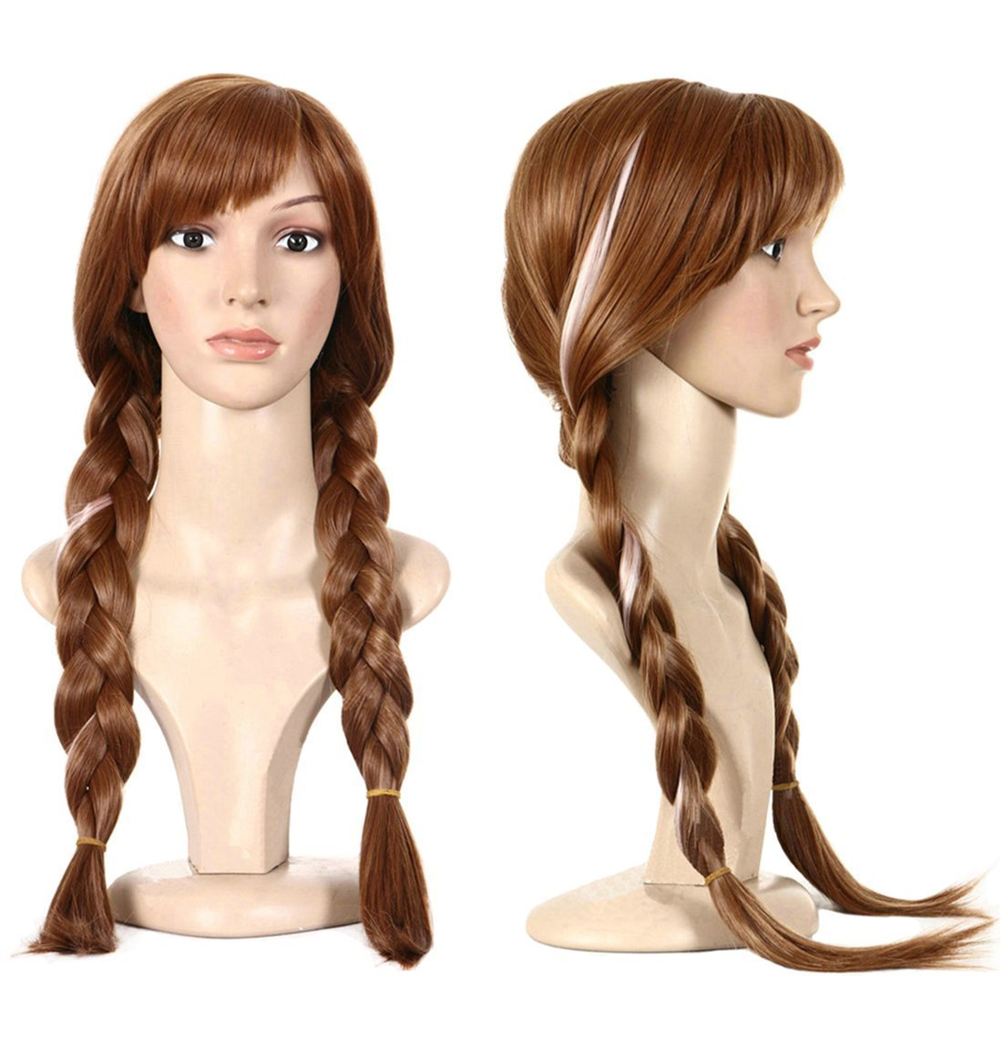 Anogol Free Hair Cap +Movie Cosplay Wig Party Wigs Brown Braid Wig Halloween Wig(Brown,1-Pack)