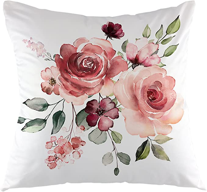 Amazon Com Ofloral Flower Throw Pillow Cover Flower Floral Leaf Buds Pillow Case Square Decorative Cushion Cover For Sofa Couch Home Bedroom Indoor Outdoor Pillowcase 18 X 18 Inch Green Pink White Home