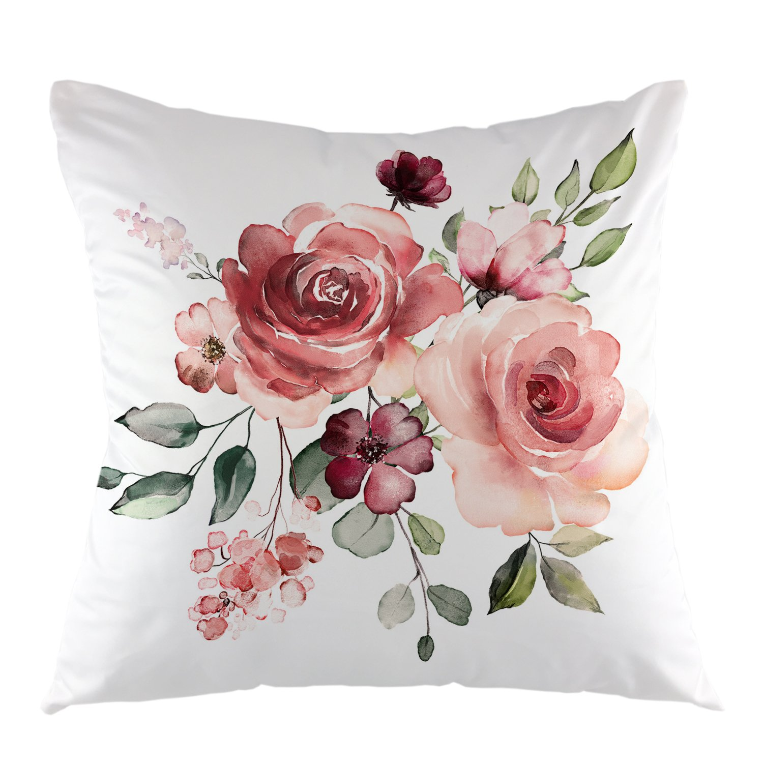 oFloral Flower Throw Pillow Cover Flower Floral Leaf Buds Pillow Case Square Decorative Cushion Cover for Sofa Couch Home Bedroom Indoor Outdoor Pillowcase 18 x 18 Inch Green Pink White
