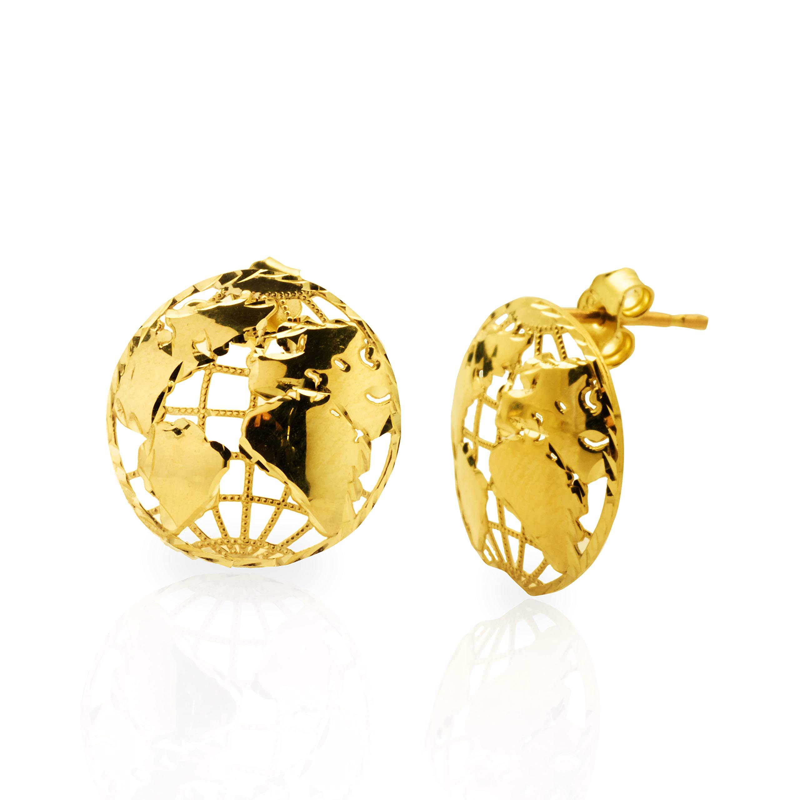 LoveBling 10k Yellow Gold World Map Stud Earrings (0.18'' x 0.17'')