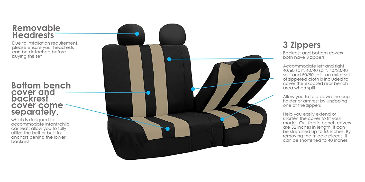 Airbag Compatible and Split Bench Burgundy FH Group FB036BURGUNDY115 Seat Cover