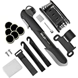 Mini Bike Pump with Repair Tool Kit - Fits Presta & Schrader Valve, High Pressure 120 PSI Giwil Bicycle Tire Pump & Multi Function Bike Repair Kit for Road and Mountain Bikes, 6.9 Inches.