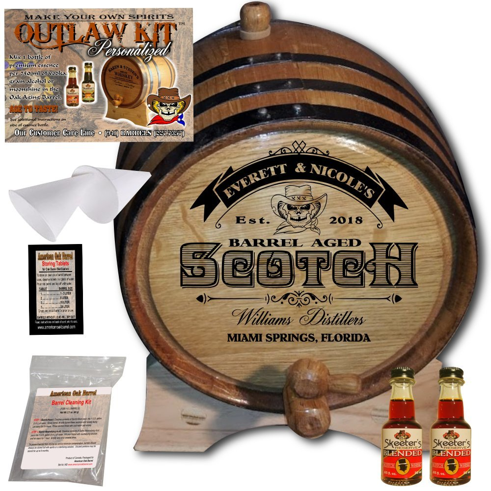 Personalized Whiskey Making Kit (101) - Create Your Own Blended Scotch Whiskey - The Outlaw Kit from Skeeter's Reserve Outlaw Gear - MADE BY American Oak Barrel - (Oak, Black Hoops, 1 Liter) COK101BSW01LBK