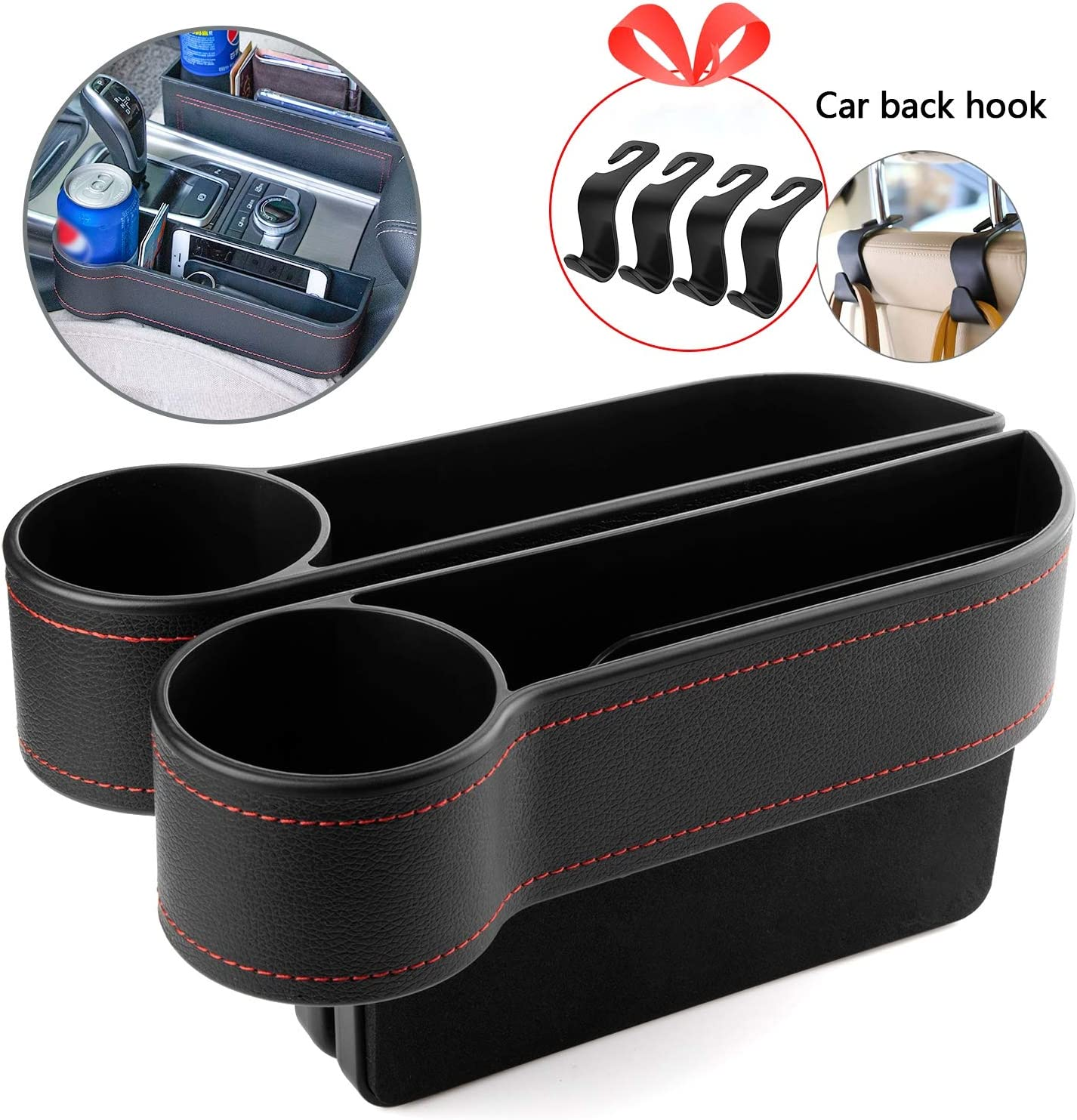 Console Side Pocket New Edition Homesprit 2 Packs Premium PU Black Car Seat Gap Filler,No Deformation,Environmentally Friendly Materials Cup Holder for Cellphone,Wallet