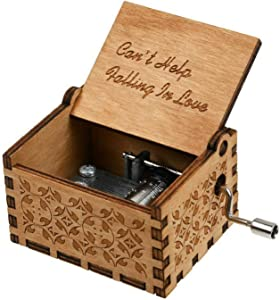 Huntmic Can't Help Falling in Love Wood Music Box, Antique Engraved Musical Boxes Case for Birthday Present Kid Toys Hand-Operated (Wood-A)