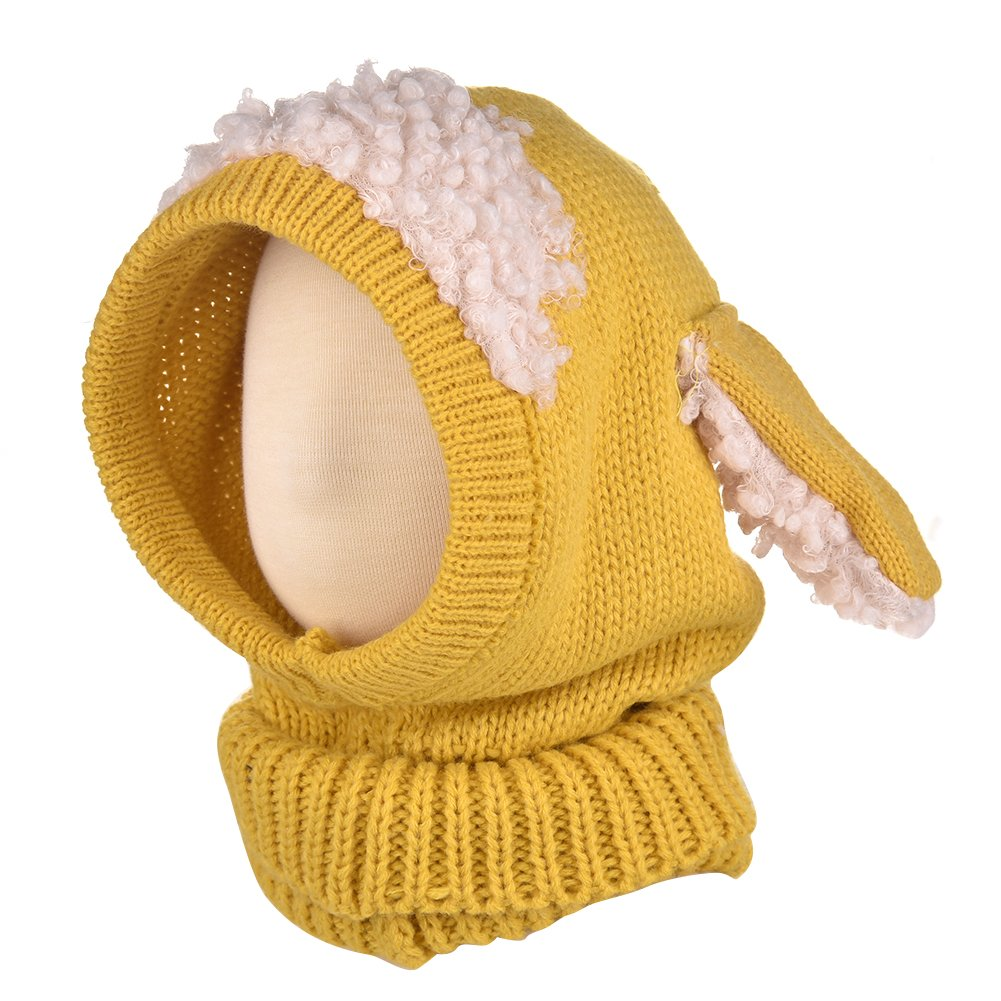 Per Baby Unisex Knitted Hat Cloak Scarf Hooded Scarf Snood With Lovely Sheep Ears Earflap For 6-36 Months Kids