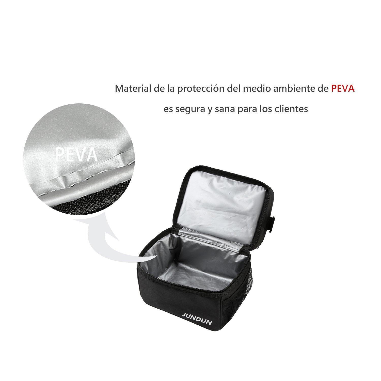 JUNDUN Bolsa T/érmica con Bolso Accesorio para Llevar Cubiertos Almacenar alimentaci/ón y Bebida Negro