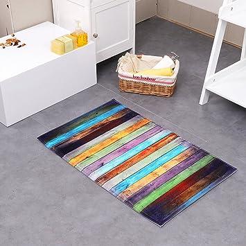 Great Schöne Fußmatte Badezimmermatte Rutschfest Duschmatte Schnelltrocknend  Anti Rutsch Küchenmatte Badezimmer Teppich Matte (Bunte Streifen