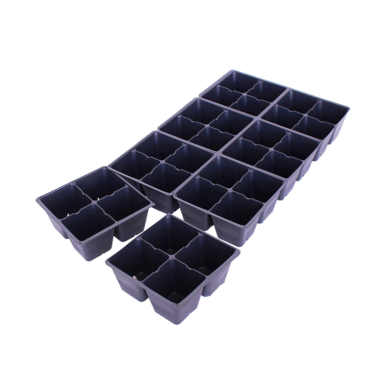Handy Pantry Black Plastic Garden Tray Inserts - 5 Sheets of 32 Planting Pot Cells Each - 2x2 Nested x8 Configuration - Perforated - Nursery, Greenhouse, Gardening