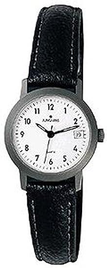 Junghans 47/2205 - Reloj de mujer de cuarzo, correa de piel color negro