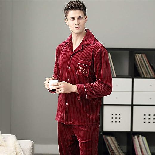 Mens Pyjamas Set Long Sleeve Classic Button Up Pjs Top & Pants Loungewear Sleepwear Button Down Pajamas Set For Men Red Warm Suit