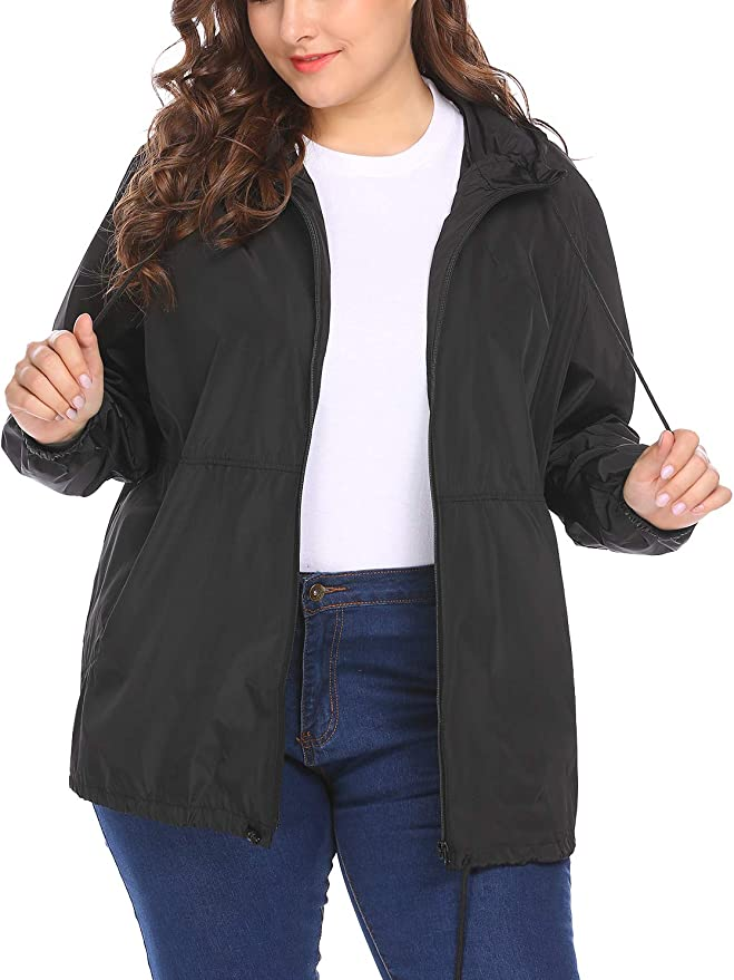 kacocob Womens Plus Size Rain Jacket Lightweight Hooded Rain Coat Windbreaker