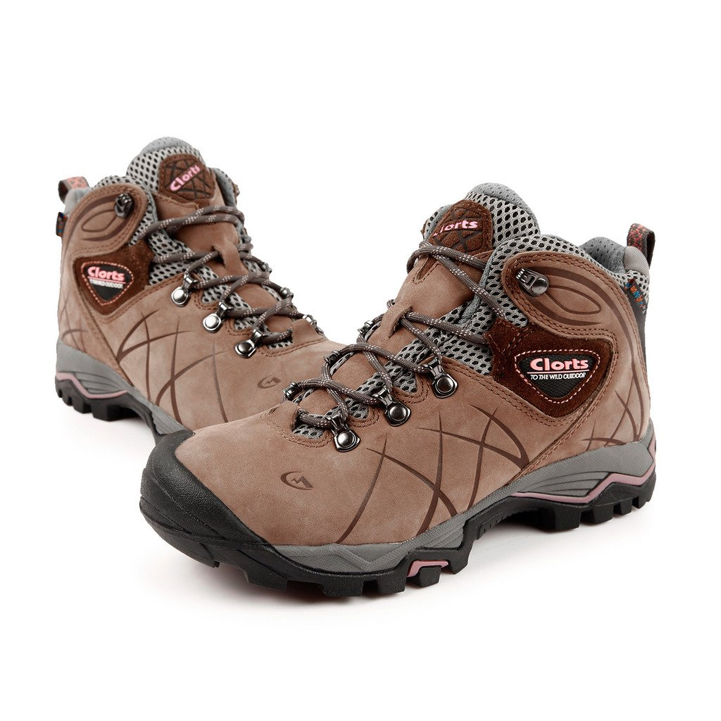 87e4e998a2b Clorts Women's Nubuck Leather Waterproof Trekking Walking Boots Hiking  Shoes HKM802B