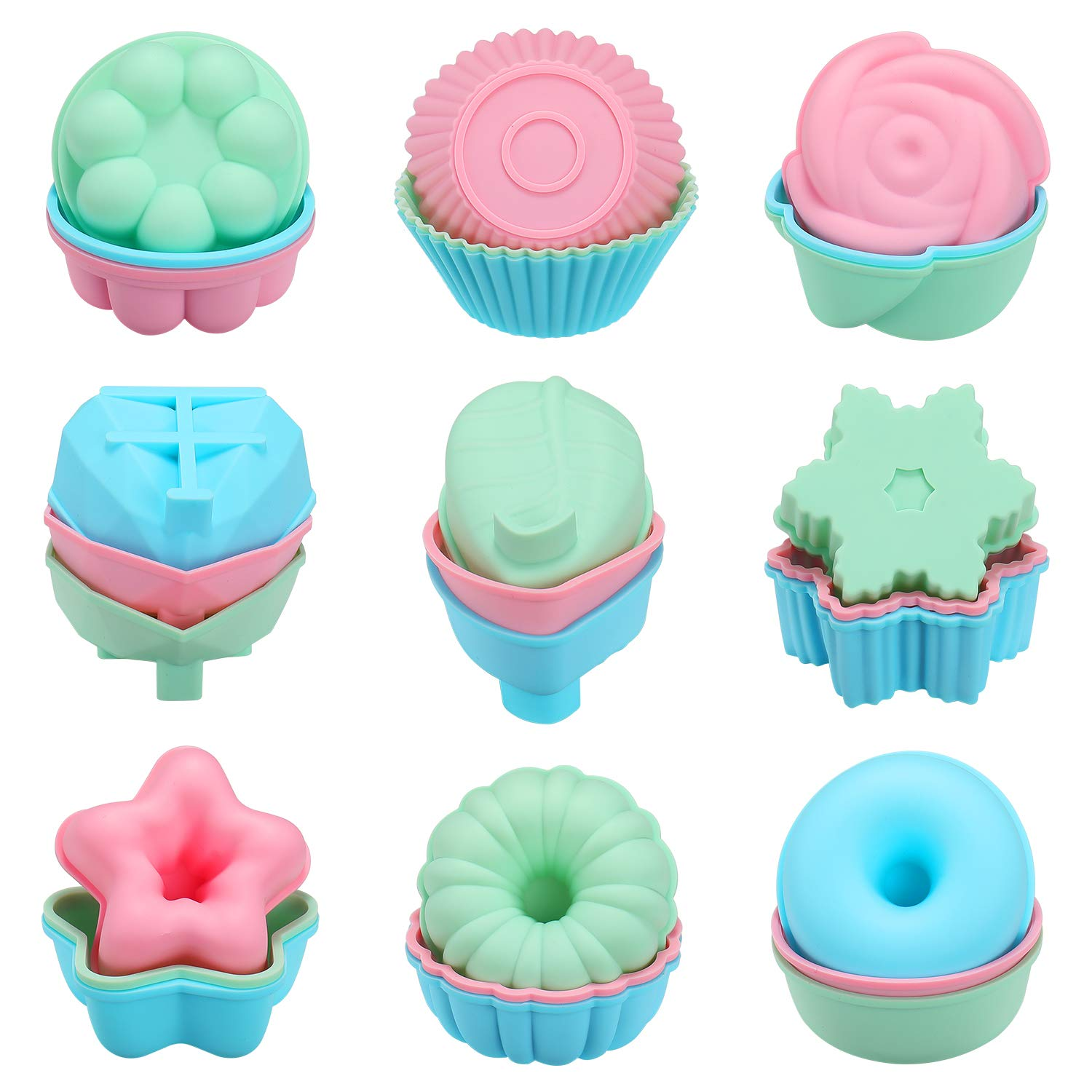 Houswill 27 Pcs Reusable Silicone Cupcake Baking Cups /Muffin and Cupcake , Silicone Cupcake Liners, Non-Stick Muffin Cups Molds, Including Round, Donut, -9 Shape / Flower Food Grade Silicone by houswill