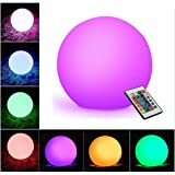 """WIOR LED Decorative Ball, 5.9"""" Waterproof Rechargeable Mood Lamp, Color Changing Cordless Night Lights (Remote Control+RGB Color Changing+USB Cable+DC 5V Adapter+User Manual) Outdoor&Indoor Use"""